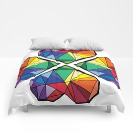 Rainbow color clover leaf Comforters