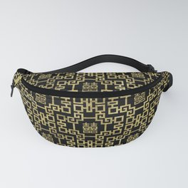 Chinese Pattern Double Happiness Symbol Gold on Black Fanny Pack