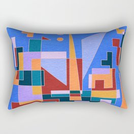Modern City view in abstract geometric shapes Rectangular Pillow