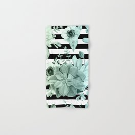 Succulents in the Garden Teal Blue Green Gradient with Black Stripes Hand & Bath Towel