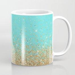 Sparkling gold glitter confetti on aqua teal damask background Coffee Mug