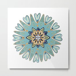 Blue Folk Flower Metal Print