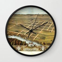 Bird's eye view of New Ulm, Brown County, Minnesota (1870) Wall Clock
