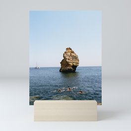 Rock and swimmers Mini Art Print