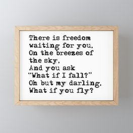 What if you fly? Vintage typewritten Framed Mini Art Print