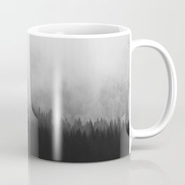 Minimalist Modern Black And white photography Landscape Misty Black Pine Forest Watercolor Effect Sp Coffee Mug
