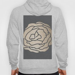 Rose in White Gold Sands on Storm Gray Hoody