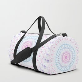 Pastel Wave Mandala in Pale Pink, White, and Lilac Duffle Bag