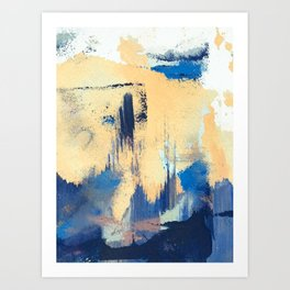 Lemon drop: a minimal, abstract mixed-media piece in yellow and blue Art Print