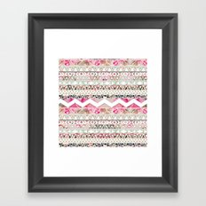 Aztec Spring Time!   Girly Pink White Floral Abstract Aztec Pattern Framed Art Print