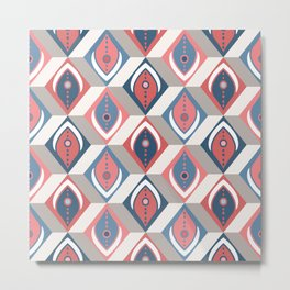 Abstract Feathers in 3D Geometric Cubes in Faded Navy Blue Red Gray Beige Metal Print
