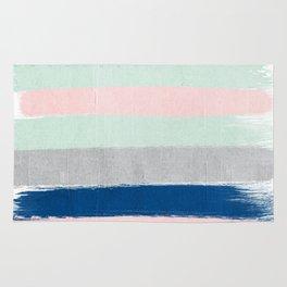 Minimal painted stripe pattern nursery decor trendy gender neutral colors Rug