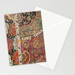 Persian Medallion Rug II // 16th Century Distressed Red Green Blue Flowery Colorful Ornate Pattern Stationery Cards