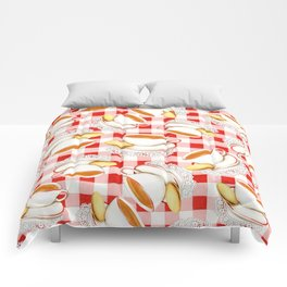 Cup of Tea, a Biscuit and Red Gingham Comforters