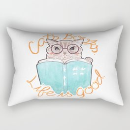 Cats, Books, Life is Good - Blue Tabby Reading a Book Rectangular Pillow