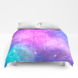Hand painted pink purple turquoise watercolor nebula space glitter stars Comforters