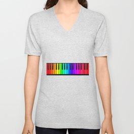 Rainbow Piano Keyboard  Unisex V-Neck