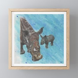 White Rhinoceros Mother with Baby Framed Mini Art Print