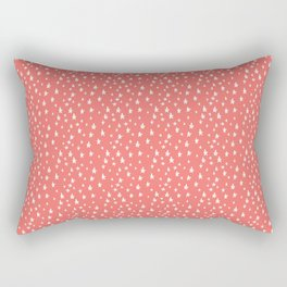 Coral White Stars Pattern Rectangular Pillow