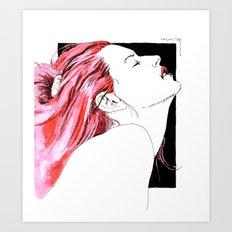 hair in rose Art Print