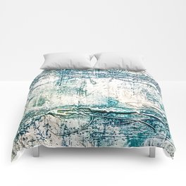 Subtle Blue Textured Acrylic Painting Comforters