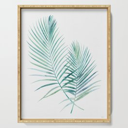 Twin Palm Fronds - Teal Serving Tray
