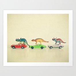 Dinosaurs Ride Cars Art Print