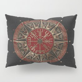 Vegvisir - Viking Compass - Black and red Leather and gold Pillow Sham