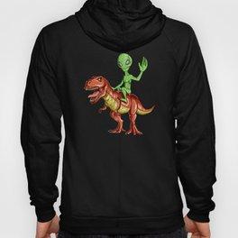 Alien Riding T-Rex - Extraterrestrial & Dinosaur Hoody