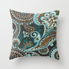 Turquoise Brown Vintage Paisley Throw Pillow
