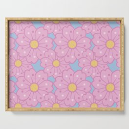 Oversized Cherry Blossoms Pattern Serving Tray