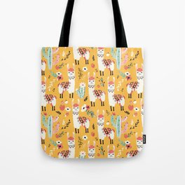 White Llama with flowers Tote Bag