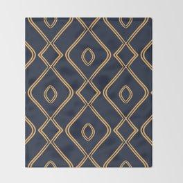 Modern Boho Ogee in Navy & Gold Throw Blanket