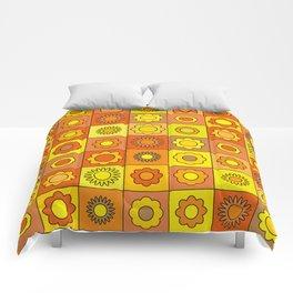Yellow and Orange Hippie Flower Pattern Comforters