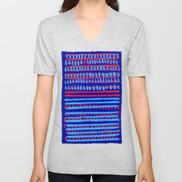 Red on Blue Unisex V-Neck