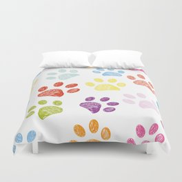 Colorful colored paw print background Duvet Cover