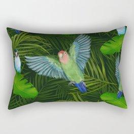 Lovebirds and tropical leafs Rectangular Pillow
