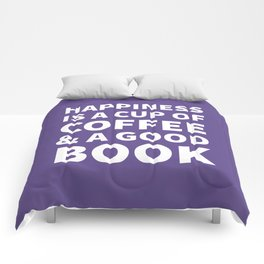 Happiness is a Cup of Coffee & a Good Book (Ultra Violet) Comforters
