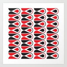red & black loop pattern Art Print