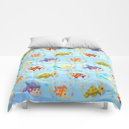 little mermaids playing tag Comforters