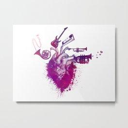 I love music red Metal Print