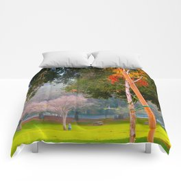 Green pastures and trees photo Comforters