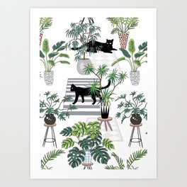cats in the interior pattern Art Print