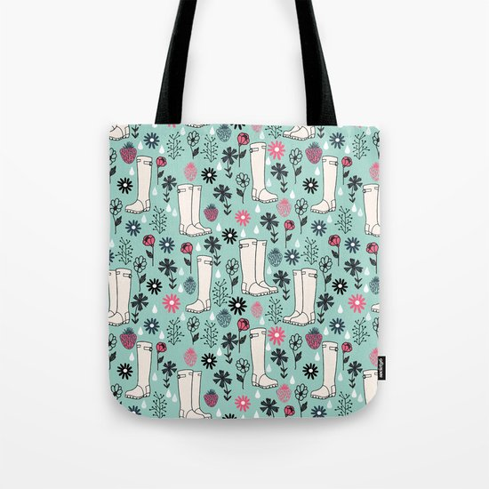 Springtime Wellies by Andrea Lauren Tote Bag