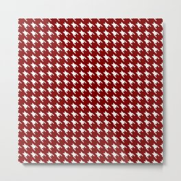 Dark Christmas Candy Apple Red Houndstooth Check Metal Print