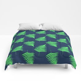 Navy and Lime Fern Pattern Comforters