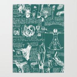 Da Vinci's Anatomy Sketchbook // Genoa Green Poster
