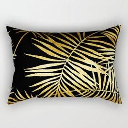 Tropical Palm Fronds Noir Rectangular Pillow