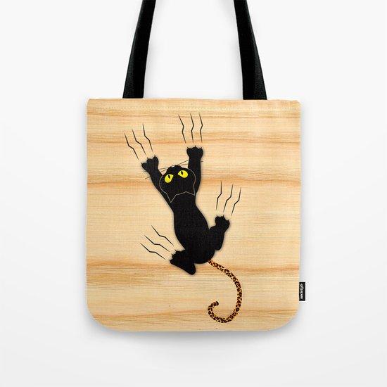 Cat Climbing Tote Bag