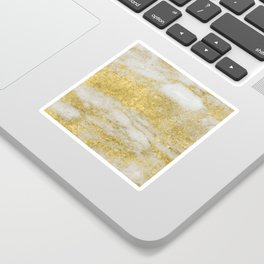 Marble - Glittery Gold Marble and White Pattern Sticker